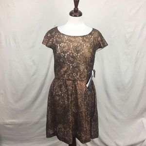 Kensie Metallic Cooper Lace Dress